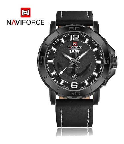 Relógio Naviforce Masculino Analógico Pulseira Couro Nf9122 Promoção Barato