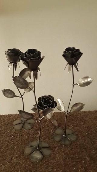 Rosas De Hierro. Decoracion Centro Mesa Souvenirs Oxidada