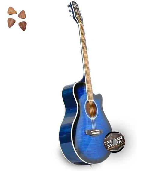 Guitarra Electro Acustica Parquer Gac109mcbl Funda Pua Cd
