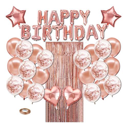 Conjunto De Decoración De Fiesta De Cumpleaños De Oro Rosa,