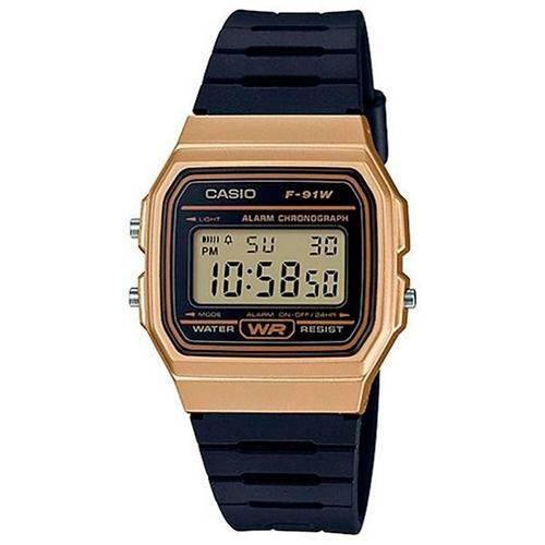 Relógio Casio Unissex Vintage F91wm 9adf Dourado Digital