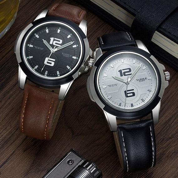 Relógio Masculino Luxo Vintage Militar Suiço Couro Legítimo