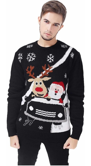 Suéter Navideño, Azul , Navidad , Oso , Duende