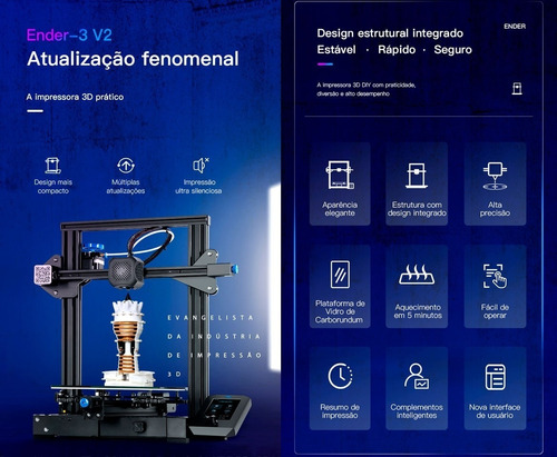 Ender 3 V2 Impressora 3d Creality Modelo 2021 Em 12x S Juros