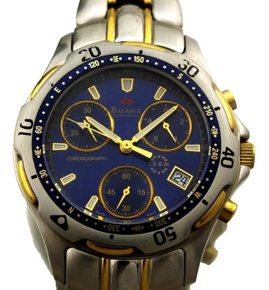 Relogio De Pulso Balance Geneva Cronometro Segund Aço J10831