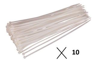 Precintos 10 Bolsas Plasticos 3,6x150mm Blancos Negros 100u