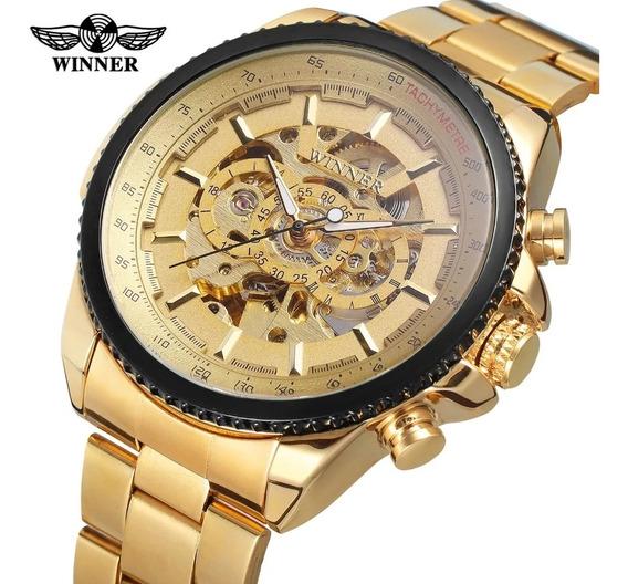 Relógio Masculino Automático Dourado Luxo Promoção