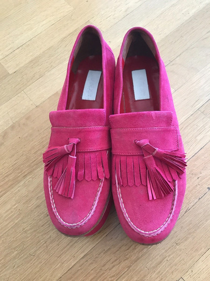 Zapatos Plataforma Ay Not Dead Mocasines Fucsia Cuero Taco