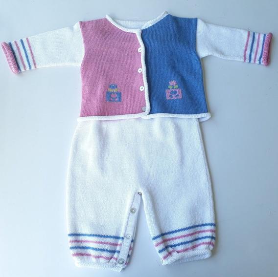Macacão Linho Bebê C/ Casaco Menina Azul E Rosa- Claire