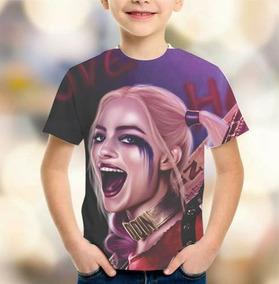Camiseta Esquadrão Suicida Arlequina Estampa Total Infantil