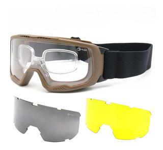 Óculos Goggle Proteção Balística 3 Lentes Anti-embaçamento Avb T7347