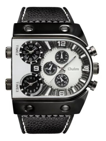 Relógio Masculino Oulm Original Cx De Aço, Pulseira De Couro