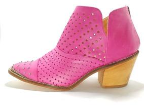 Zapatos Mujer Botineta Texana Puntera Metalica