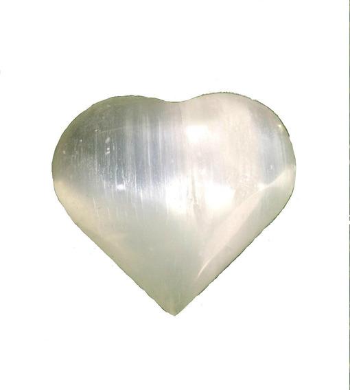 Cristal - Coração De Selenita Branca Lapidado Pedra Natural Semi Preciosa Promoção!
