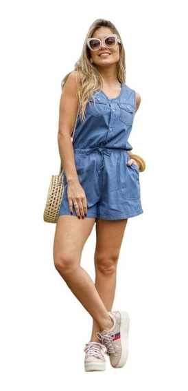 Macaquinho Macacão Feminino Jeans Leve Curto Alcinha Botão