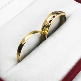 86a4ef1acce0 Par Alianzas + Anillo Oro 18k 3.2 Gr Casamiento Compromiso