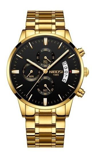 Relógio Masculino Nibosi 2309 Dourado Com Preto Original