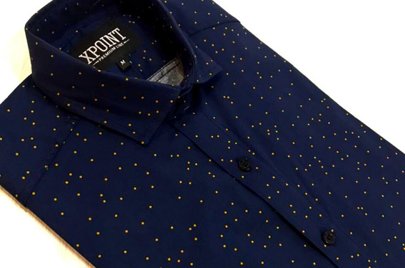 Camisa X-point Slim Fit Azul Marino C/ Puntos Amarillos