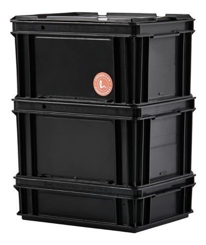 Imagen 1 de 9 de Compostera Domiciliaria Negra 40 L Con Lombrices Lumbricus