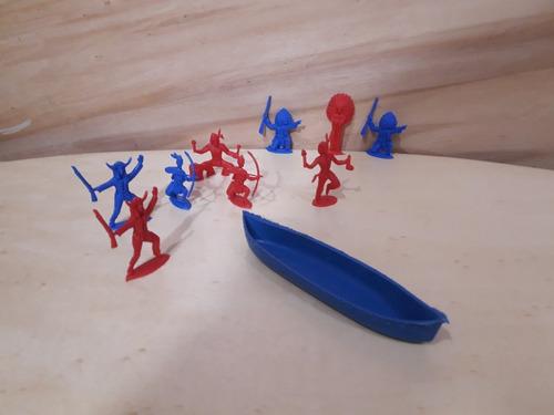 Set De Caciques 4 Indios Con Canoa Plasticos Dc275