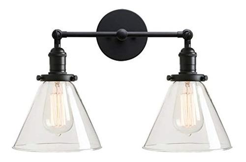 Aplique De Pared Con 2 Luces, Diseño Vintage Industrial