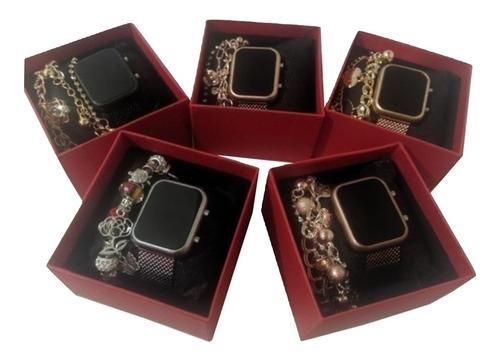 Kit C/5 Relógios Digital Feminino+caixas+pulseiras Atacado