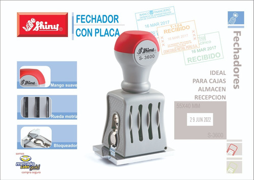 Imagen 1 de 2 de Fechador Con Placa Shiny S3600 - Promocion