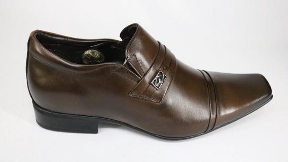 Sapato Jota Pe Couro Aumeto De Altura Brown Marrom
