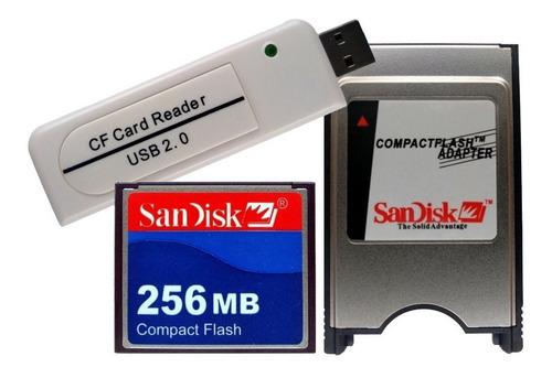 Cf 256 + Leitor Compact Flash Usb + Adaptador Pcmcia Fanuc