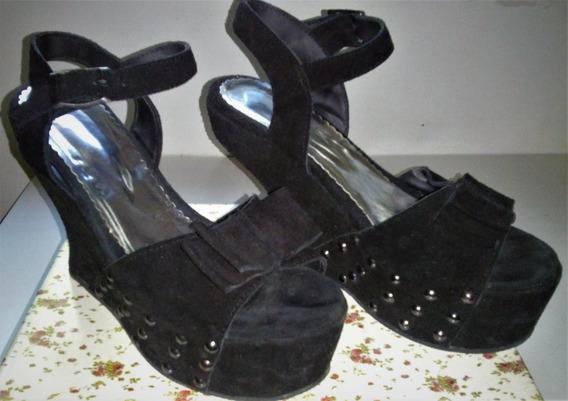 Zapatos Sandalias De Gamuza Negros C/ Plataforma