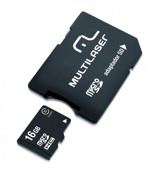 Cartão De Memória Micro Sd 16gb + Adaptador Sd Multilaser -