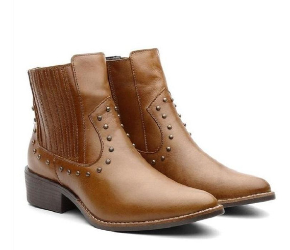 Bota Ankle Boot Feminina Couro Country Cano Curto