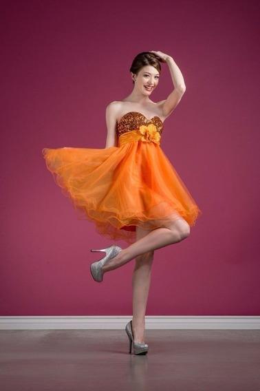 Vestido De Noche, Fiesta, Vestido Corto Naranja, Xv Años