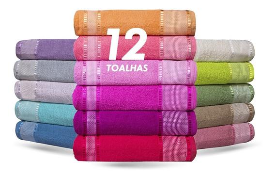 Kit Com 12 Toalhas De Banho Gigante Grossa 80x1,50 + Brinde