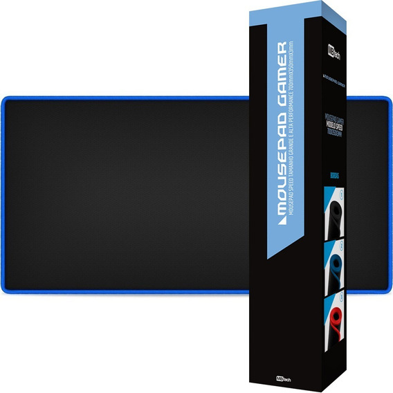 Mousepad Gamer Grande 70 X 35 Speed Borda Costurada Azul