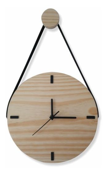 Relógio De Parede Decorativo Moderno Madeira Natural C/ Alça