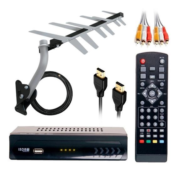 Kit Conversor Digital Hd Completo C/ Cabo 10 Mt Entrada Hdmi Usb Para Tv De Tubo Led Lcd + Promoção + Frete Grátis