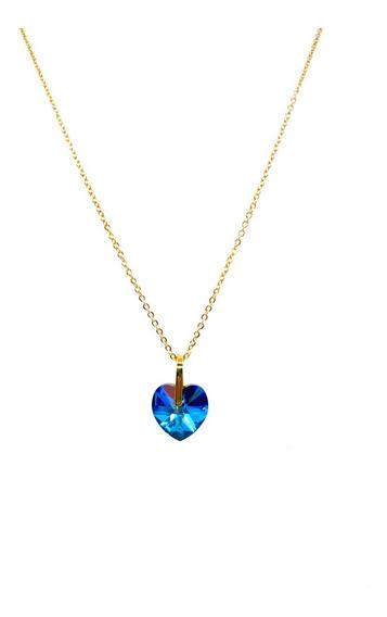 Collar Dije Corazon Swarovski Azul Chapa Oro Joyeria Vogary