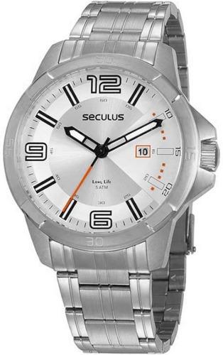 Relógio Masculino A Prova D'água Seculus Original Prata