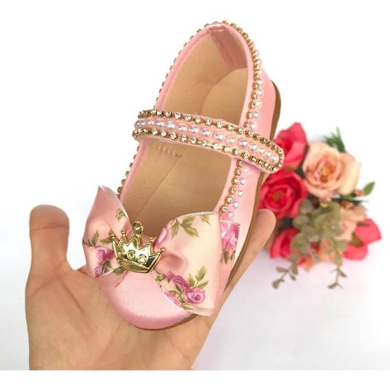 Sapatilha Customizada Luxo Floral Rosa Strass Daminha Honra