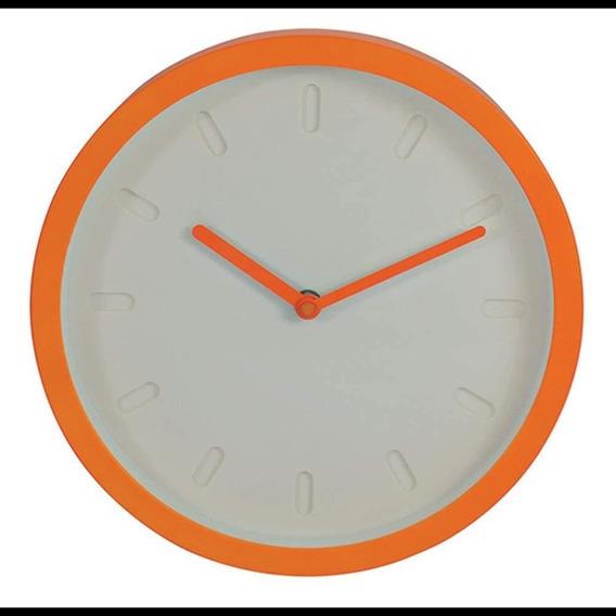 Relógio De Parede Decorativo Minimalista Branco/laranja 25cm