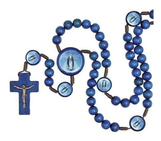 Terço Madeira Nossa Senhora Das Graças Entremeio Azul 40cm