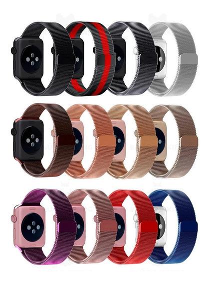 Pulseira Milanese P/ Apple Watch 38 40mm 42mm 44mm Aço Inox