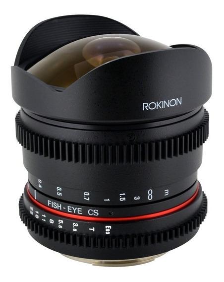 Lente Rokinon 8mm T3.8 Cine Lens P Video Dslr Canon Mn4