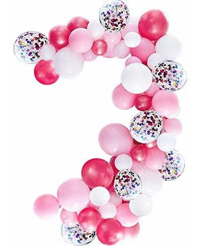 Imagen 1 de 5 de Kit De Guirnalda De Globos De Color Rosa, Paquete De 100, Gl
