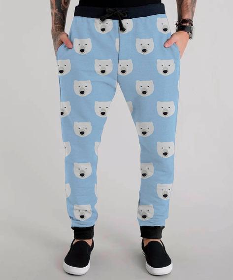 Calça Moletom Urso Polar Azul Inverno Winter Bear Tumblr