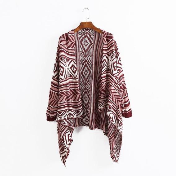 Cardigan Kimono Tricô Estampa Geométrica Importado P.entrega