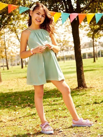 Vestido P/niña Ilusion 8346 Plisado Fresco Moño