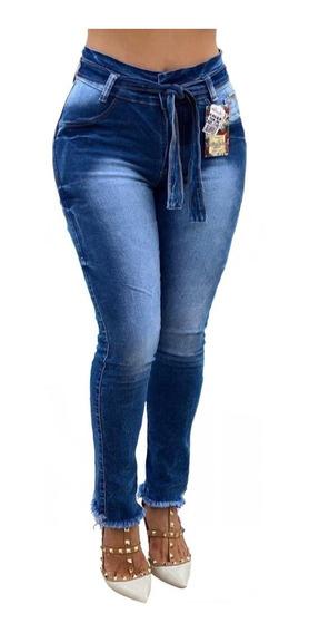Calça Jeans Feminina Cintura Alta Hot Pants Premium 5% Lycra