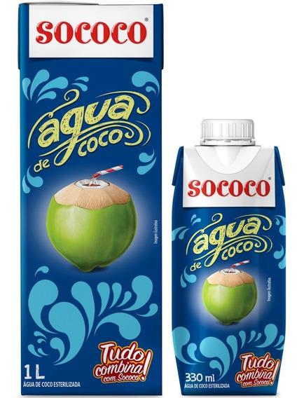 Água De Coco Sococo Kit 6 Unidades 1l 12 Unidades De 330ml